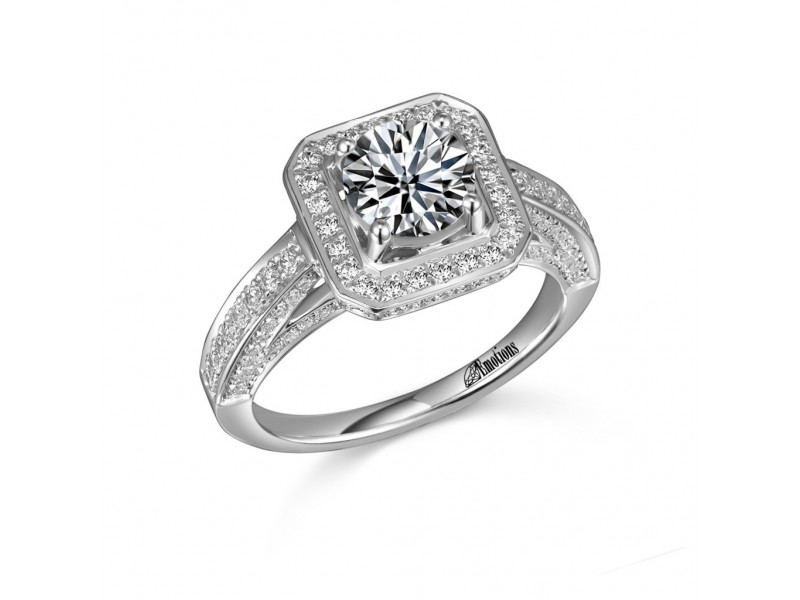 Pave and Prong Round Diamond Engagement Ring