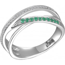 Channel Set Diamond and Emerald Wedding Ring