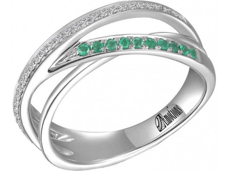 Channel Set Diamond and Emerald Wedding Ring