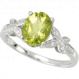 Peridot & Diamond Accented Butterfly Ring