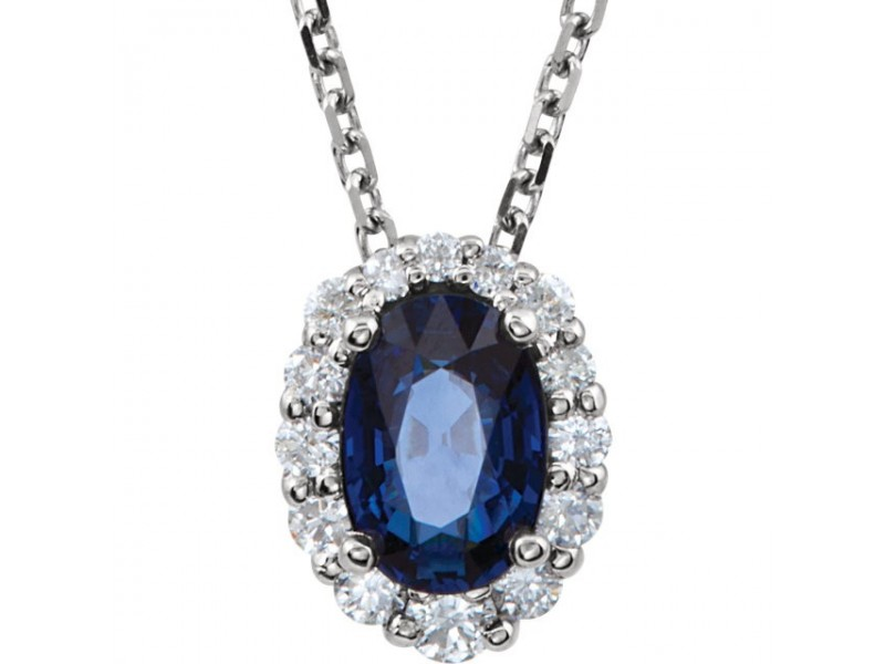 14k blue sapphire diamond necklace allisons custom jewelry 14k blue sapphire diamond necklace aloadofball Image collections
