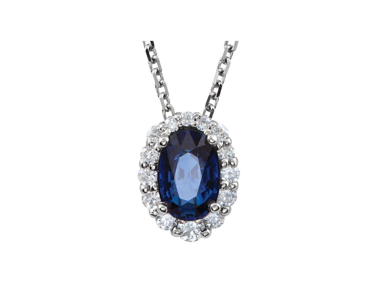 14k blue sapphire diamond necklace allisons custom jewelry 14k blue sapphire diamond necklace loading zoom mozeypictures Choice Image