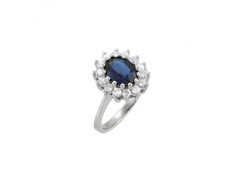 Cluster-Style Saphire and Diamond Ring