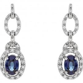 14K White 1/4 CTW Diamond & Blue Sapphire Earrings