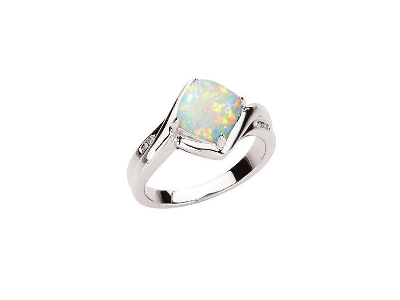 14K White .03 CTW Genuine Opal & Diamond Ring.