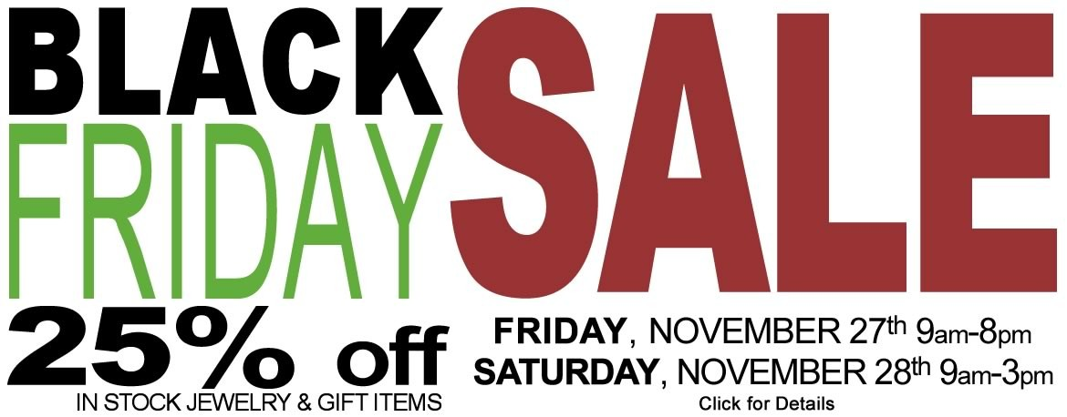 Save 25% on in stock jewelry and gift items during the Black Friday sale at Allison's Custom Jewelry
