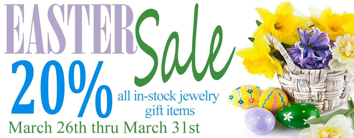 Save 20% on all in-stock jewelry and gift items during the Allison's Easter Sale