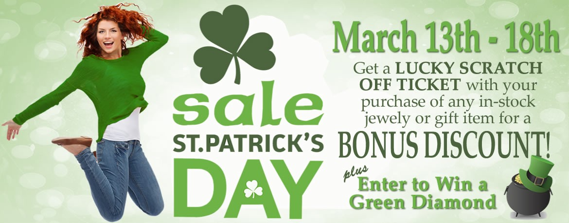 Save on all in-stock jewelry and gift items plus get a lucky scratch off ticket for a bonus discount during the St. Patrick's Day Sale at Allison's Custom Jewelry.